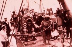 Divers going to wreck of Lusitania 1930's