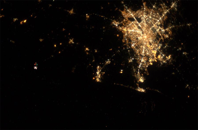 Houston, Texas Tweeted from the Space Station by astronaut Karen Nyberg