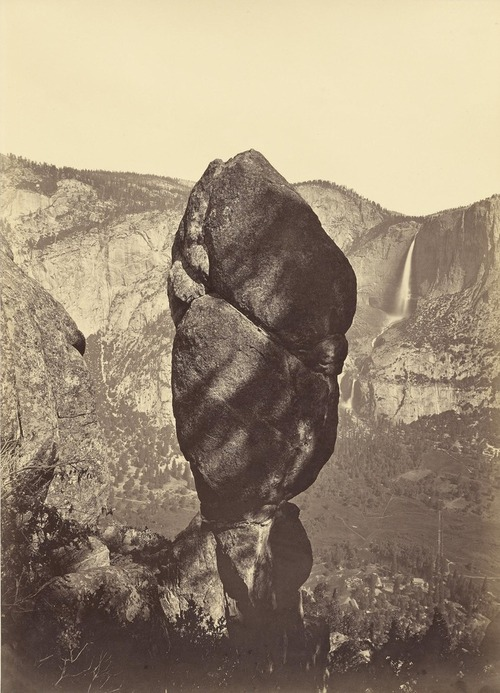 Yosemite Valley (Agassiz Rock and Yosemite Falls), c. 1883 Albumen print from mammoth glass plate negative, 21 x 15in. (54 x 39.4cm.)
