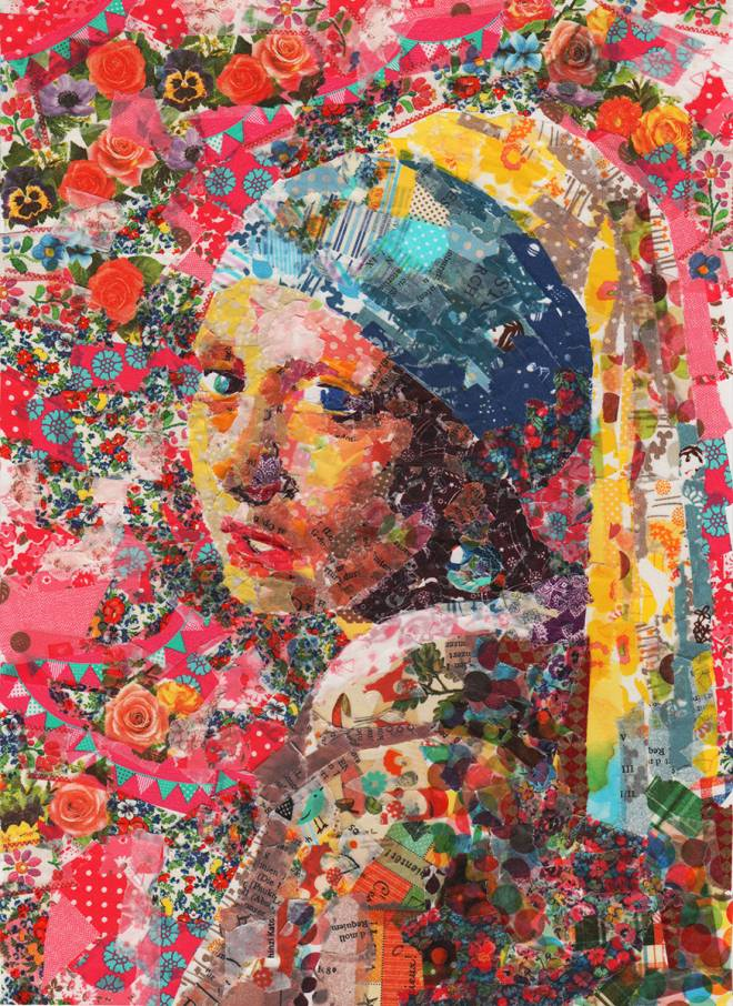 """Collage of """"Girl with the Pearl Earring"""" by Johan Vermeer  - artist - Nasa Funahara"""