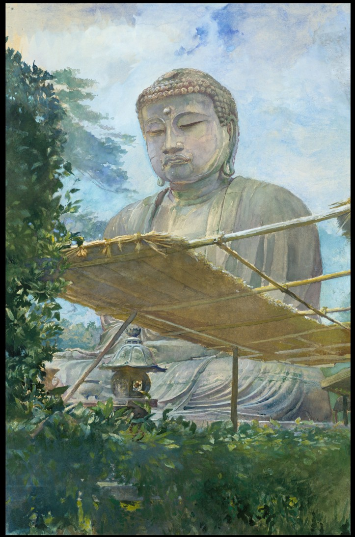The Great Statue of Amida Buddha at Kamakura, Known as the Daibutsu, from the Priest's Garden - Watercolor by John La Farge
