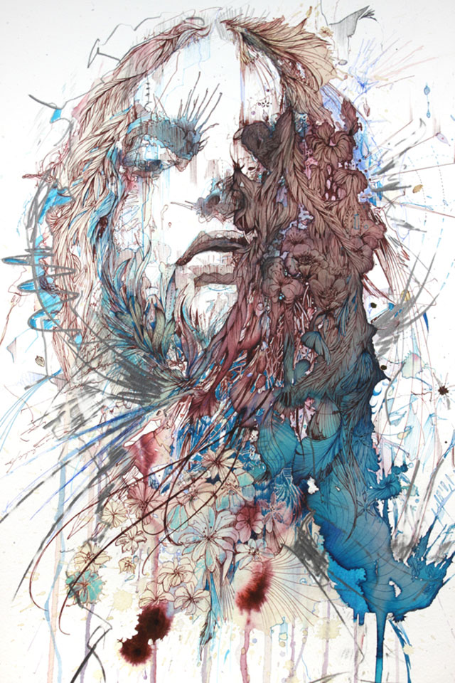 "Part of the ""Portraits"" series ink, tea and other liquids by Carne Griffiths"