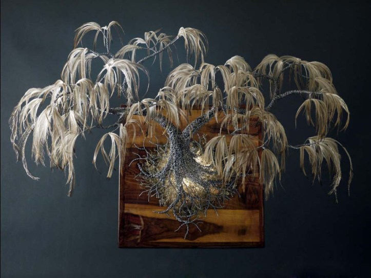 """Industrial Spring"" Woven Metal and Feathers  Kue King"