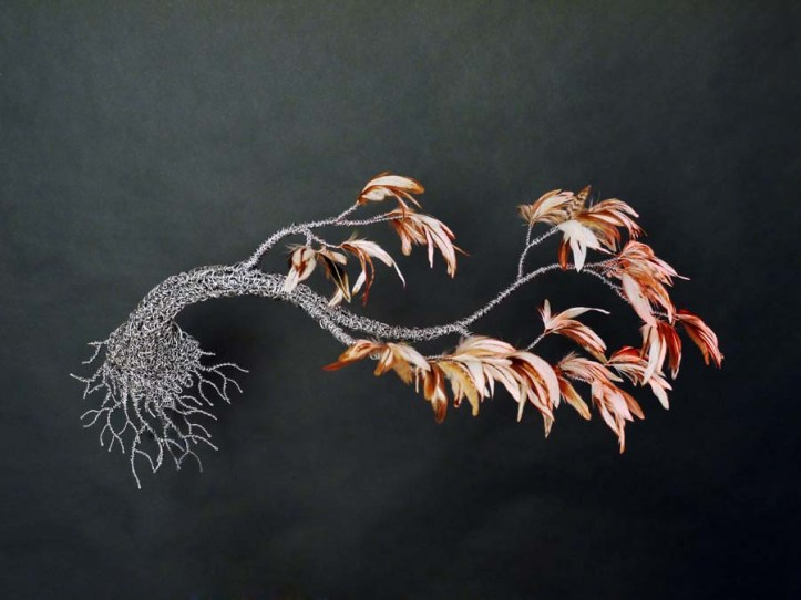"""Metal and Feather 2"" Aluminum and Feathers by Keu King"