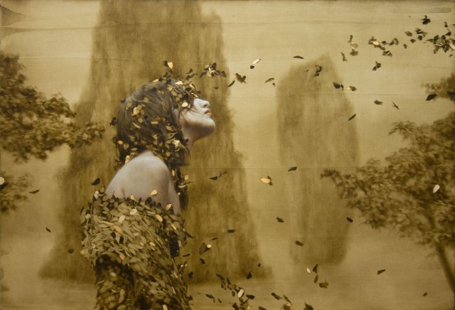 """Seer"" Painting with Gold Leaf by Brad Kunkle"