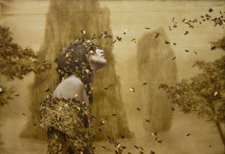 """""""Seer"""" Painting with Gold Leaf by Brad Kunkle"""
