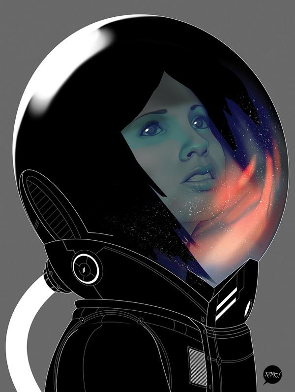 """Astrogirl"" Digital Art by Francisco Perez Pac23"