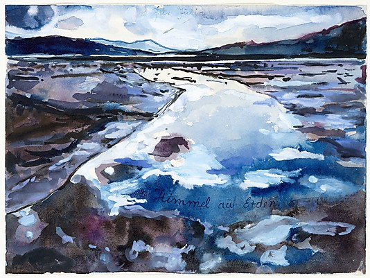 """""""Heaven on Earth"""" Watercolor, gouache, and ballpoint pen on paper by Anselm Kiefer"""