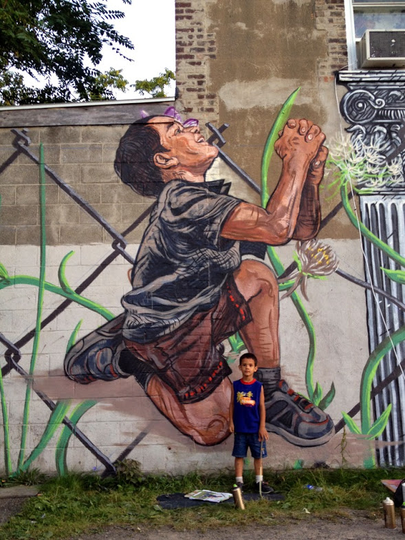 Childhood: Christopher Street art in Rochester, NY, USA, by artist LNY Lunar New Year (for Wall Therapy)