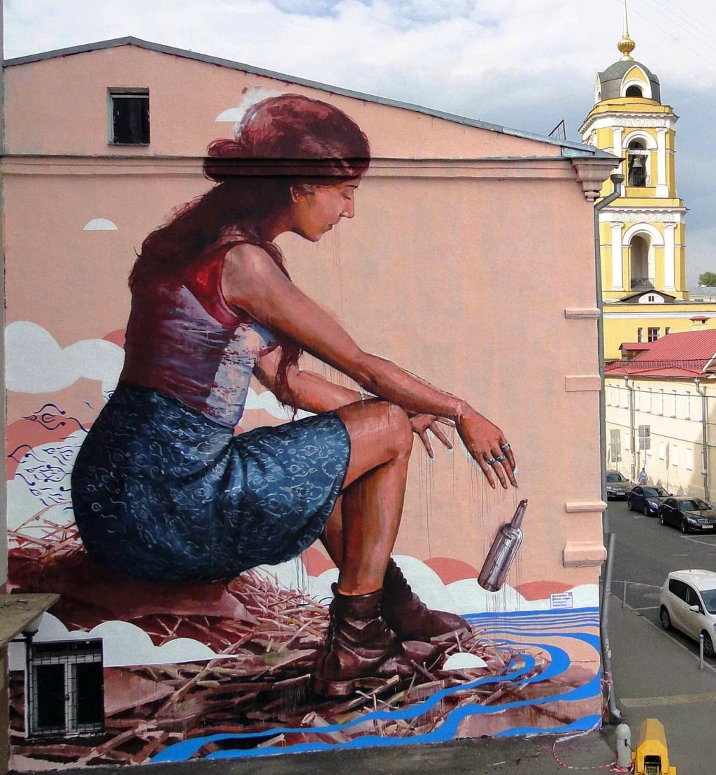 """The Messenger"" by ,Fintan Magee from Austria in Moscow, Russia for the the Most Street Art Festiva"
