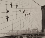 Painters on the Brooklyn Bridge Suspender Cables-October 7, 1914 - Photograph by Eugene de Salignac