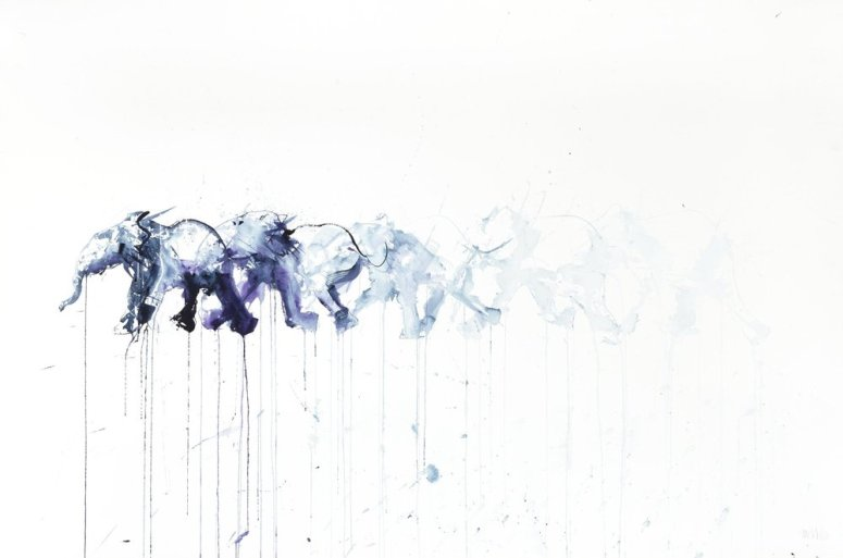 Running Elephant - Water Color by Dave White