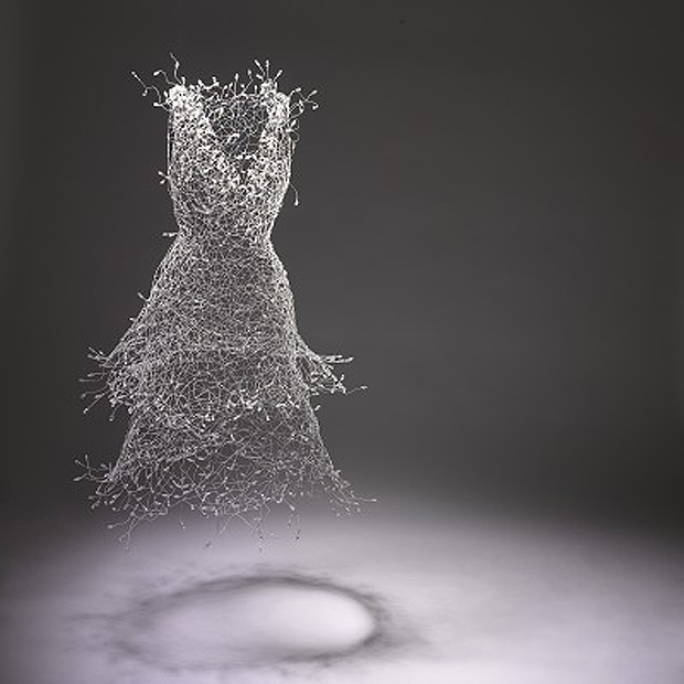 """Moving in White"" Wire and Bead Sculpture by Key Sook Geum"