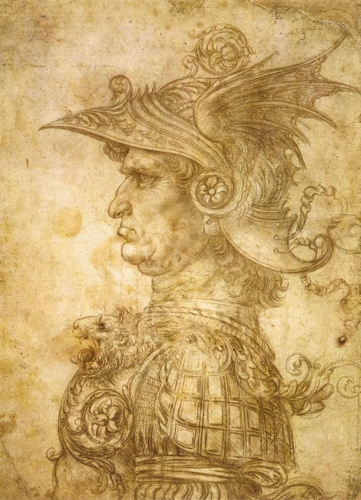 Profile of a Warrior in Helm by Leonardo da Vinci