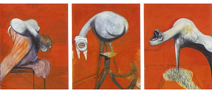 Three Studies for Figures at the Base of a Crucifixion (1945)- Francis Bacon