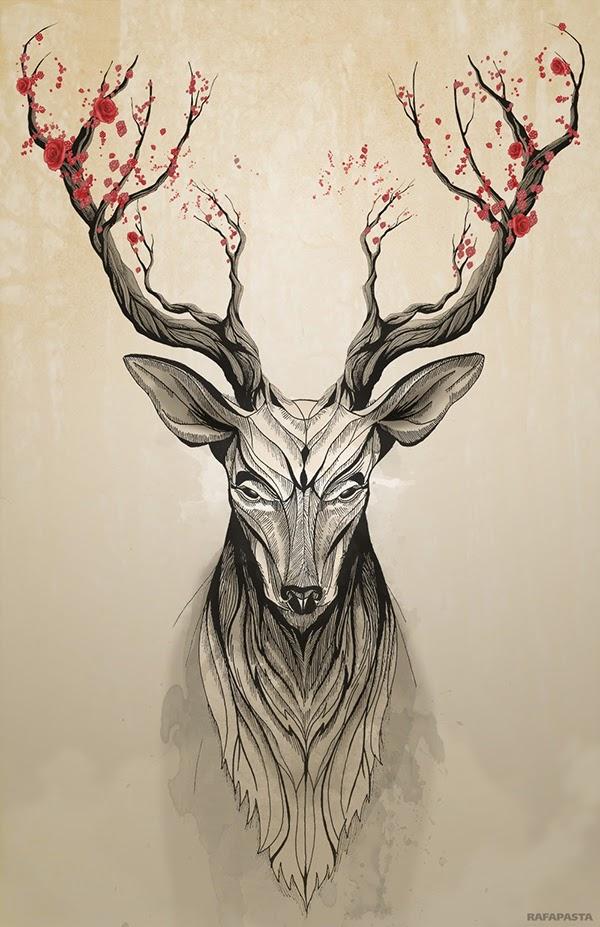 Deer Tree - Illustration by Rafapasta