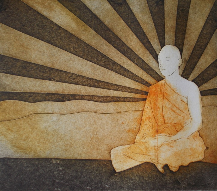 Golden Buddha - Collagraph print by Sarah Morgan