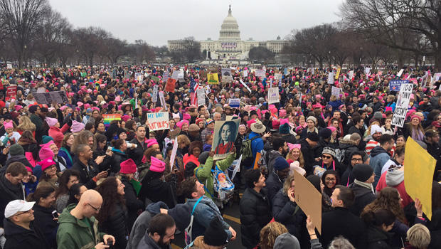 Demonstrators protest on the National Mall in Washington, DC, for the Women's march on January 21, 2017. Hundreds of thousands of protesters spearheaded by women's rights groups demonstrated across the US to send a defiant message to US President Donald Trump. / AFP / Andrew CABALLERO-REYNOLDS (Photo credit should read ANDREW CABALLERO-REYNOLDS/AFP/Getty Images)