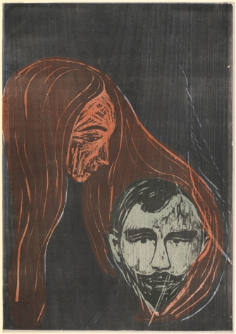 Edvard Munch Man's Head in Woman's Hair (Mannerkopf in Frauenharr), 1896 color woodcut sheet: 55.9 x 38.8 cm (22 x 15 1/4 in.) National Gallery of Art, Washington, Rosenwald Collection